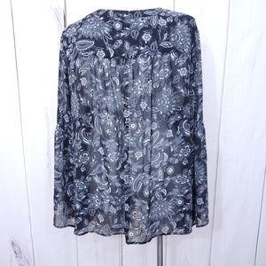 torrid Tops - Torrid Top Sheer Floral Blouse Overlay Black 5XL 5